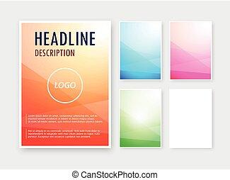 diferente, jogo, formato, abstratos, em branco, fundos, cores, vetorial, folheto, a6, catalog.