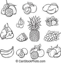 diferente, jogo, fruta, mão, vetorial, desenhado