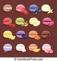 diferente, jogo, fruta, s, macarons, cores, vetorial, gostoso, ilustração, bolo, macaroon