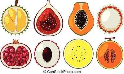 diferente, jogo, frutas