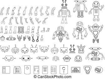 diferente, jogo, grande, robô, partes, pretas, branca