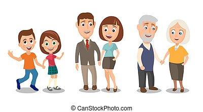 diferente, jogo, idades, pares, hands., prendendo criança, gerações