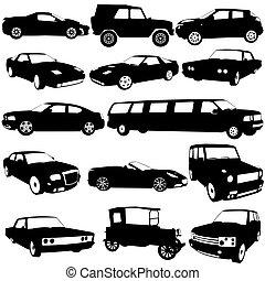 diferente, jogo, illustration., carros, experiência., silhuetas, vetorial, pretas, branca, tipos