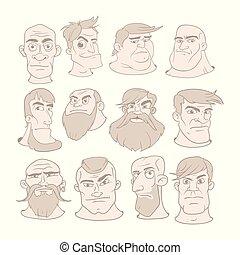 diferente, jogo, ilustração, caricatura, expressions., vetorial, caras, sério, style., homem