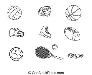 diferente, jogo, isolado, ícones, fundo, vetorial, Ilustração, branca, desporto