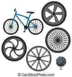 diferente, jogo, isolado, bicicleta, branca, velocímetro, rodas