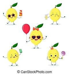 diferente, jogo, limão, personagem, caricatura, cinco, poses, style.