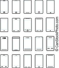 diferente, jogo, móvel, isolado, dispositivos, branca
