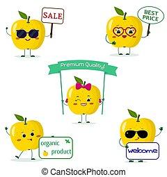 diferente, jogo, maçã, smiley, amarela, caricatura, cinco, poses, style.