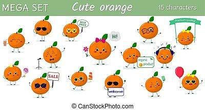 diferente, jogo, mega, personagem, acessórios, laranjas, caricatura, poses, quinze, style.