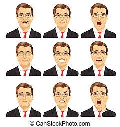 diferente, jogo, mesmo, meio, homem negócios, expressões, envelhecido, óculos