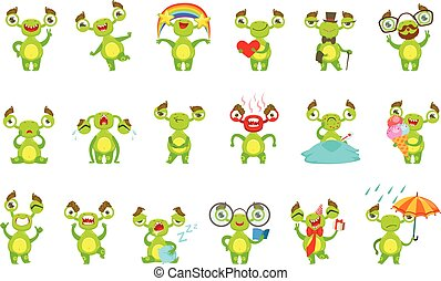 diferente, jogo, monstro, situações, personagem, emoções, verde