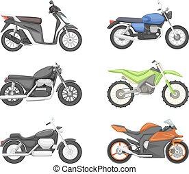 diferente, jogo, motorcycles., estilo, vetorial, ilustrações, caricatura, tipos
