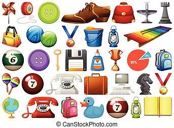 diferente, jogo, objetos