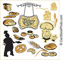 diferente, jogo, pão, texto, padeiro, signboard., -, torta, mão, panificadora, escrito, biscoito, moinho, images., cakes.