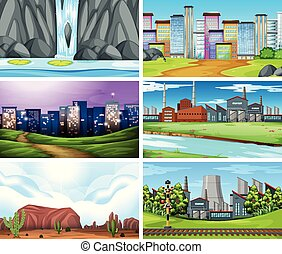 diferente, jogo, paisagem