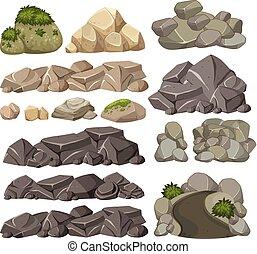 diferente, jogo, pedras