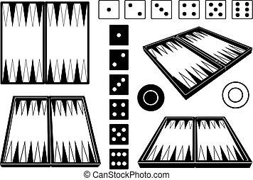 diferente, jogo, placas, gamão