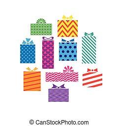 diferente, jogo, presente, isolado, caixas, presentes, branca