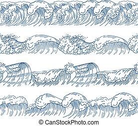 diferente, jogo, quadros, seamless, oceânicos, padrões, desenhado, horizontais, mão, waves.