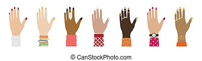 diferente, jogo, relógios, anéis, raças, fêmea passa, pulseiras, manicure.