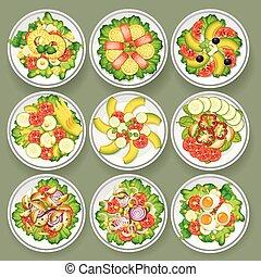diferente, jogo, saladas