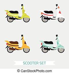 diferente, jogo, scooters, cores