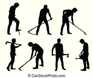 diferente, jogo, silueta, -, jovem, agricultor, poses, ferramentas, ou, jardineiro, homem