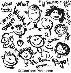 diferente, jogo, texto, handdrawn, emotions., caras, imagens, caricatura, manuscrito