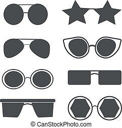 diferente, jogo, tipos, óculos