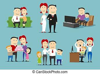 diferente, jogo, vida família, fases, caricatura