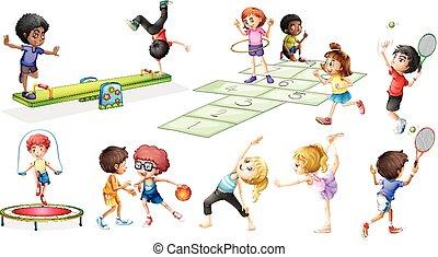 diferente, jogos, crianças, esportes
