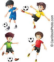 diferente, jugadores, futbol, cuatro, uniformes