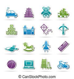 diferente, juguetes, clase, iconos