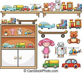 diferente, juguetes, en, el, de madera, estantes
