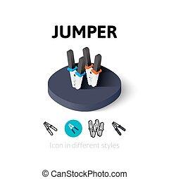 diferente, jumper, estilo, ícone