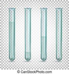 diferente, líquido, colorless, amounts., ilustração, ou, vidro água, vetorial, experiência., laboratório, tubos, transparente