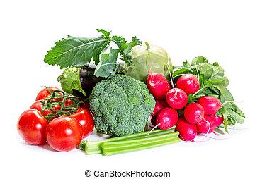 diferente, legumes, isolado, branco