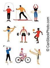 diferente, macho, tipos, femininas, pessoas, saudável, ilustração, esportes, vetorial, cobrança, caráteres, profissional, estilo vida ativo, sportswear, atletas