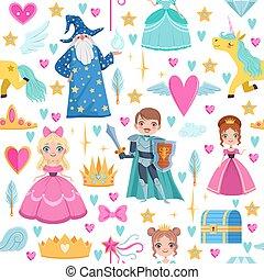 diferente, magia, elements., padrão, fairytale, seamless, estilo, ilustrações, caricatura