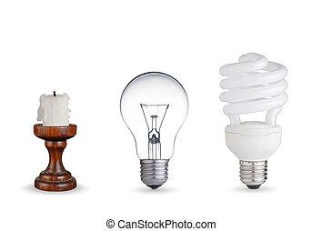 diferente, maneiras, de, iluminação