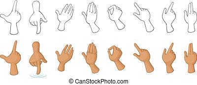 diferente, mano, gestos