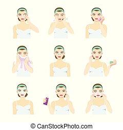 diferente, masks., após, rosto, olha, aplica, pele, menina, problema