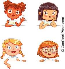 diferente, meninas, tábua, segurando, nacionalidades, branca, vazio