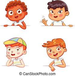 diferente, meninos, tábua, segurando, nacionalidades, branca, vazio