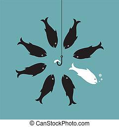 diferente, minhoca, peixe, concept., vetorial, hook., imagem