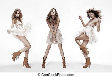 diferente, moda, imagen, triple, modelo, posturas