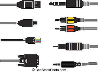 diferente, modernos, conexão, silhuetas, vetorial, plugs.