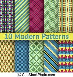 diferente, modernos, seamless, (tiling), padrões, vetorial