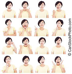 diferente, mujer, joven, asiático, facial, elaboración,...